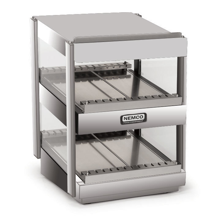 Nemco 6480-18S Stainless Steel 18 inch Slanted Double Shelf Merchandiser - 120V
