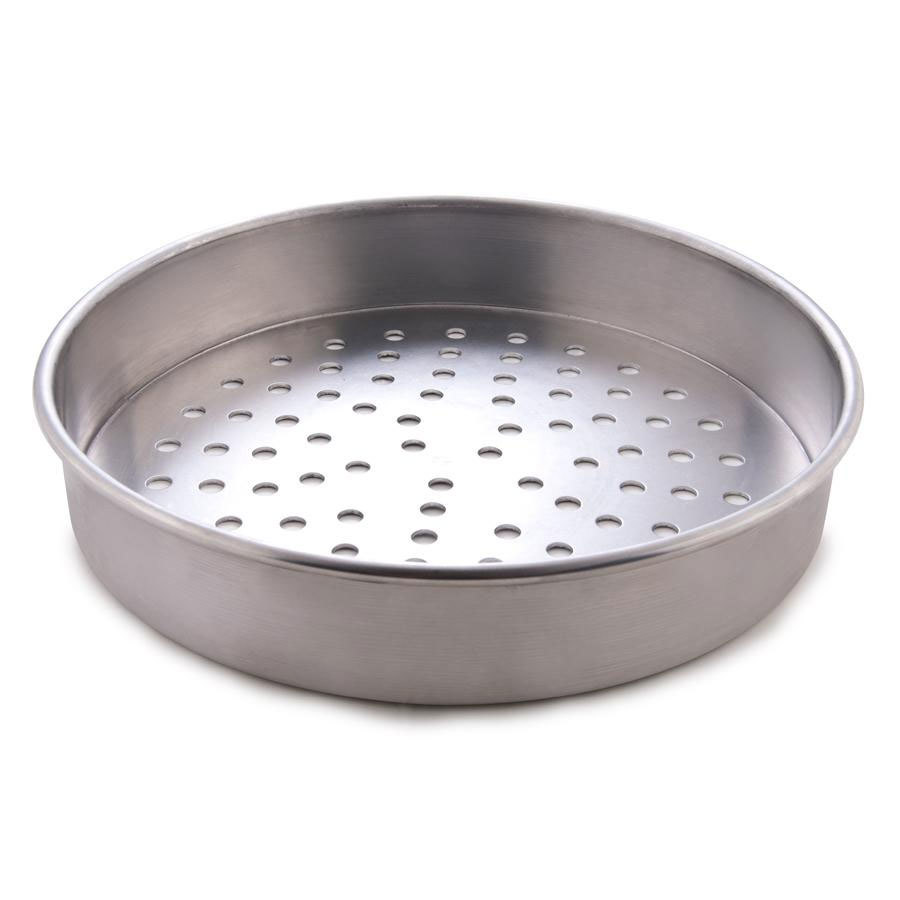 "American Metalcraft T4010P 10"" Perforated Straight Sided Pizza Pan - Tin-Plated Steel"