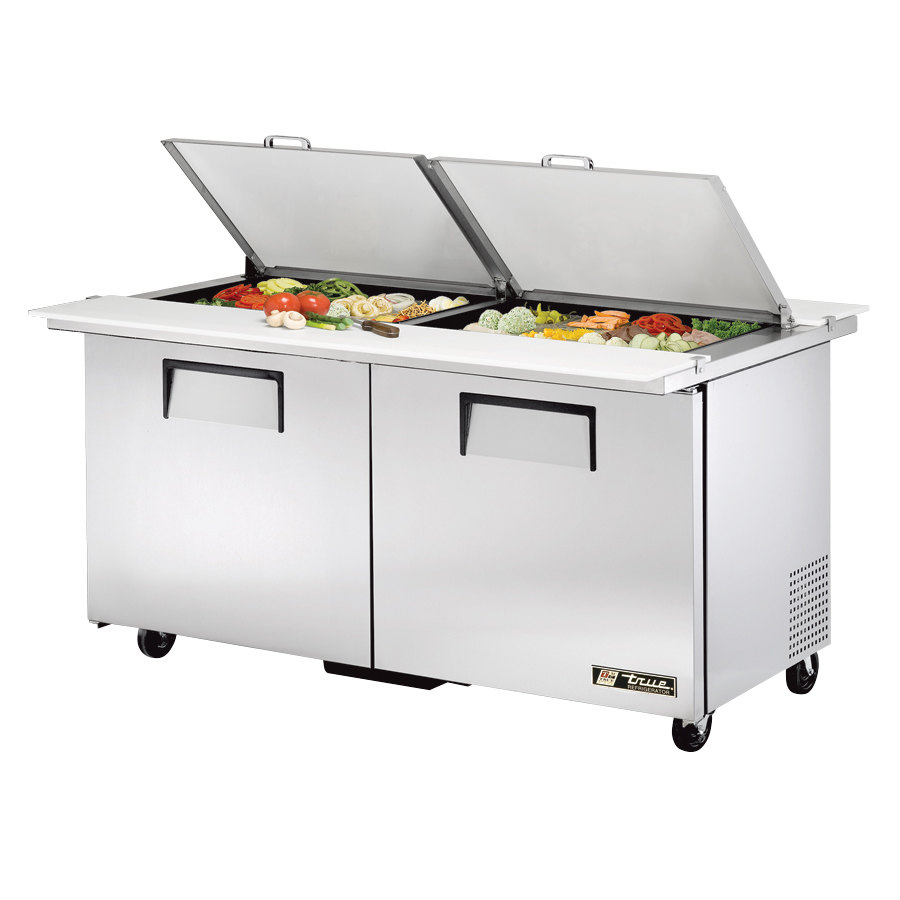 True TSSU-60-24M-B-DS-ST 60 inch Mega Top Dual Side Two Door Sandwich / Salad Prep Refrigerator - 24 Pans