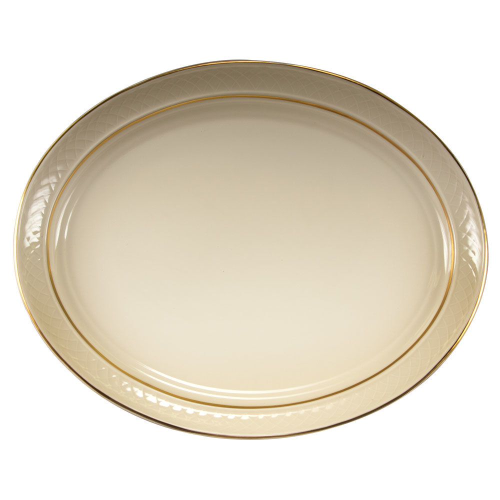 "Homer Laughlin 1420-0353 Westminster Gothic Off White 13 1/8"" Oval Platter - 12/Case"