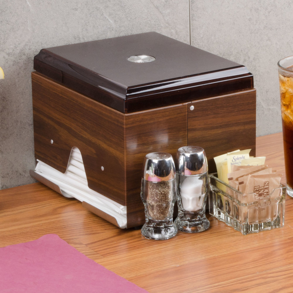 Vollrath 3810-12 Straw Boss Double Sided Wrapped Straw Dispenser - Dark Walnut Woodgrain