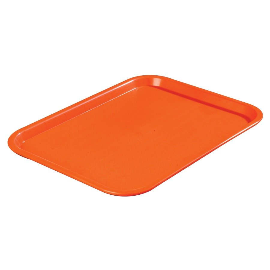 "Carlisle CT121624 Customizable Cafe 12"" x 16"" Orange Standard Plastic Fast Food Tray - 24/Case"