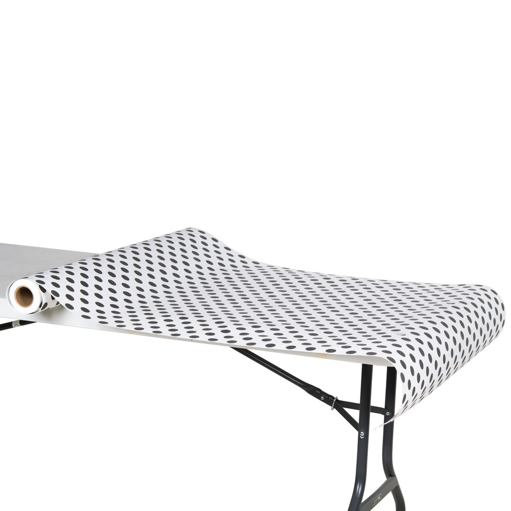 "40"" x 100' Paper Table Cover with Black Polka Dots"