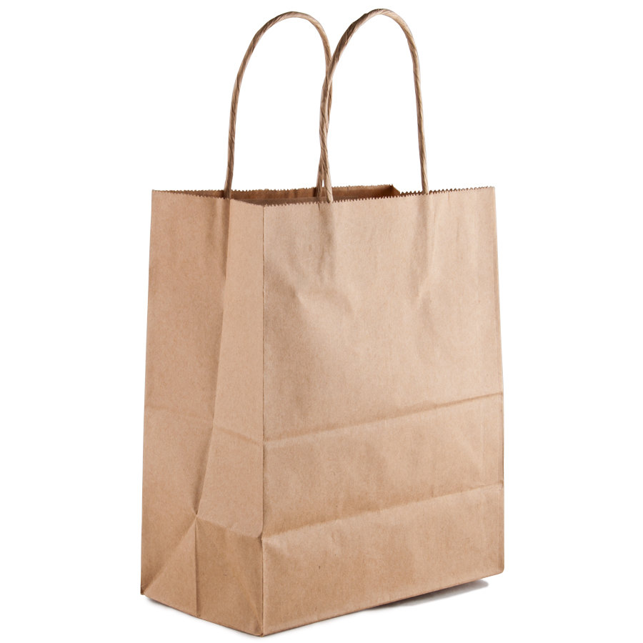Brown Shopping Bag with Handles 8 inch x 5 inch x 10 inch 250/Case
