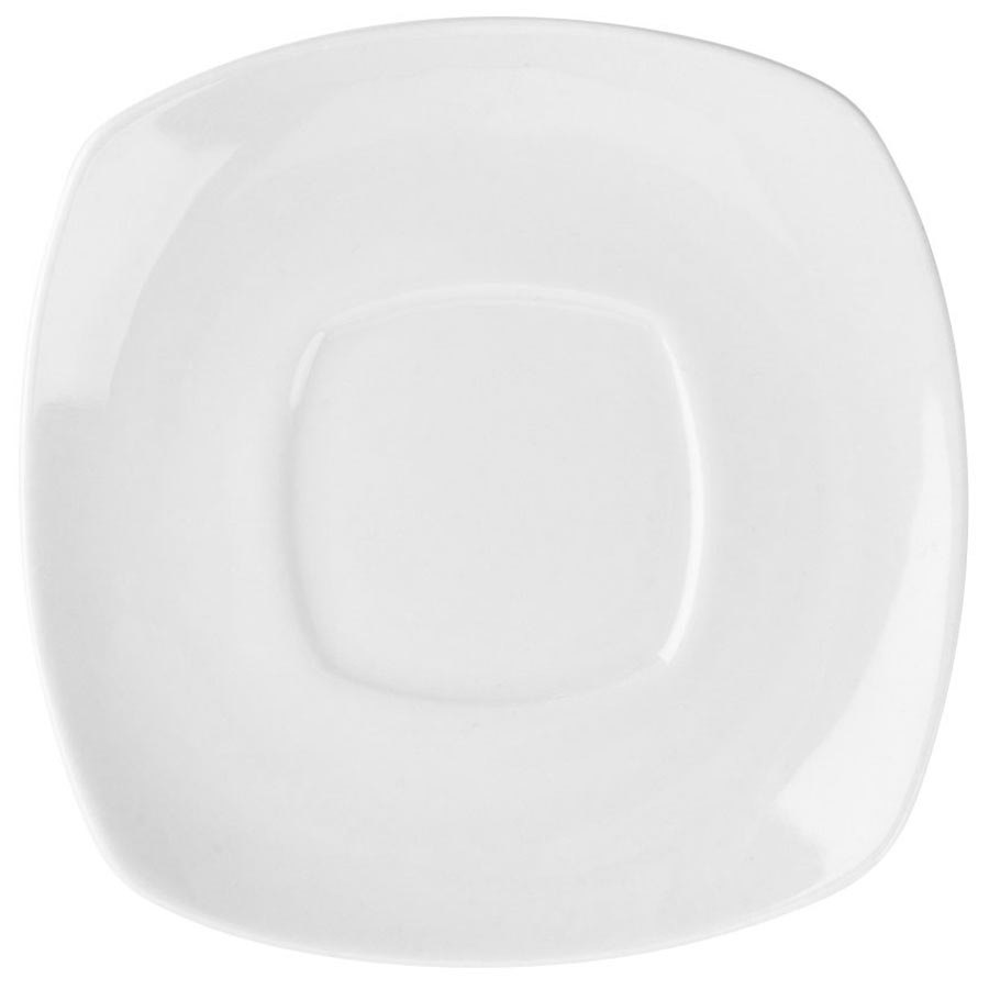 "6"" Bright White Square Porcelain Saucer - 36/Case"