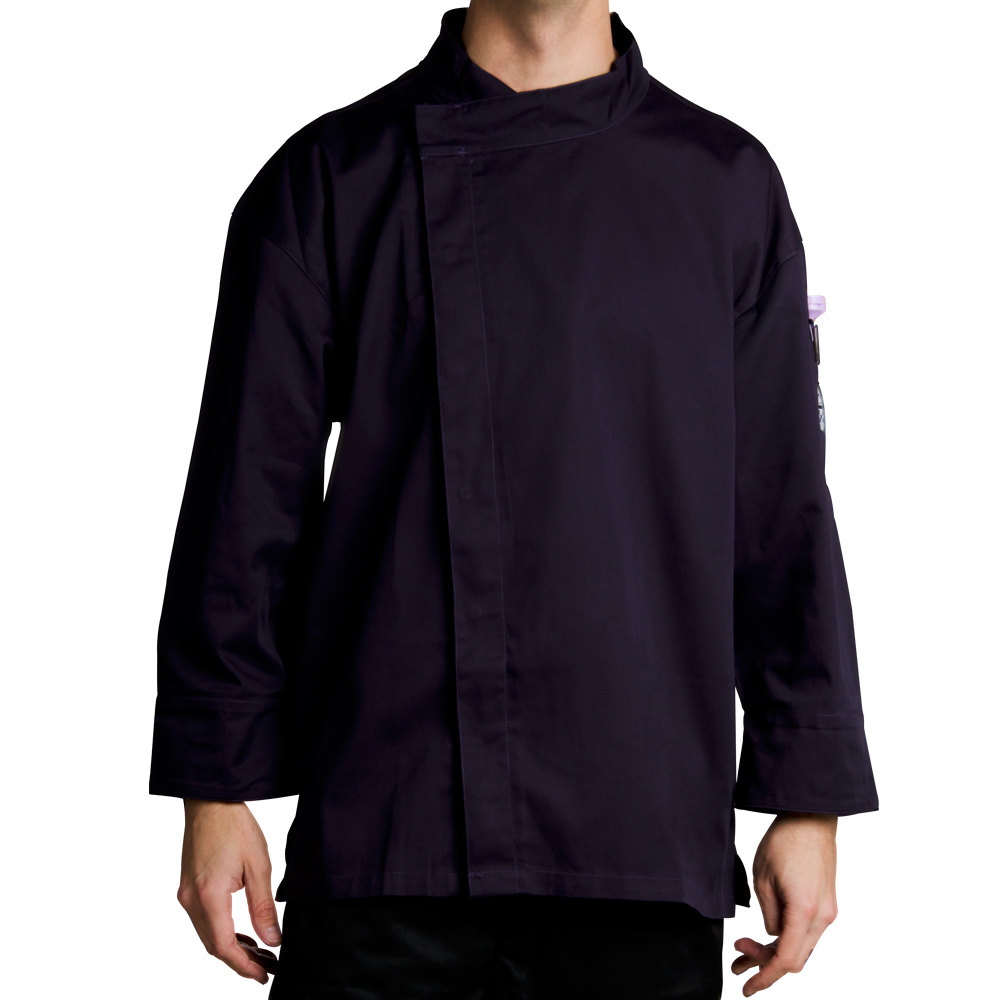 Chef Revival J113EPT-XL Knife and Steel Size 48 (XL) Eggplant Purple Customizable Chef Jacket with 3/4 Sleeves and Hidden Snap Buttons - Poly-Cotton