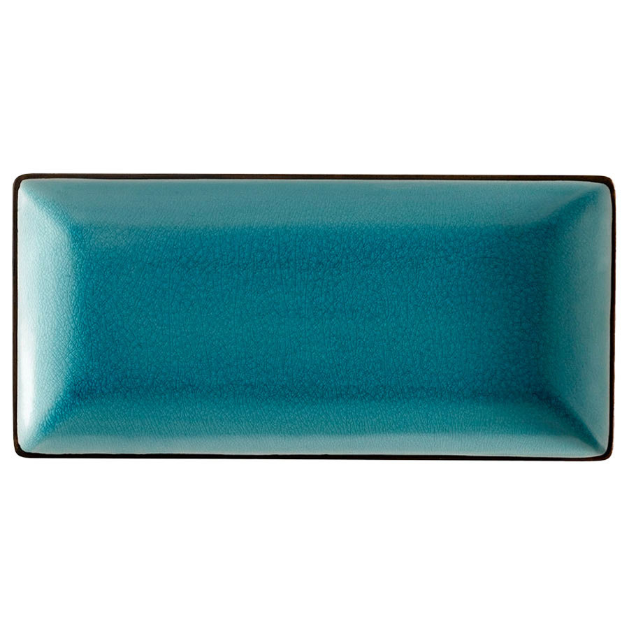"CAC 666-13-BLU 11 1/2"" x 6 1/2"" Japanese Style Rectangular China Plate - Black Non-Glare Glaze / Lake Water Blue 12 / Case"