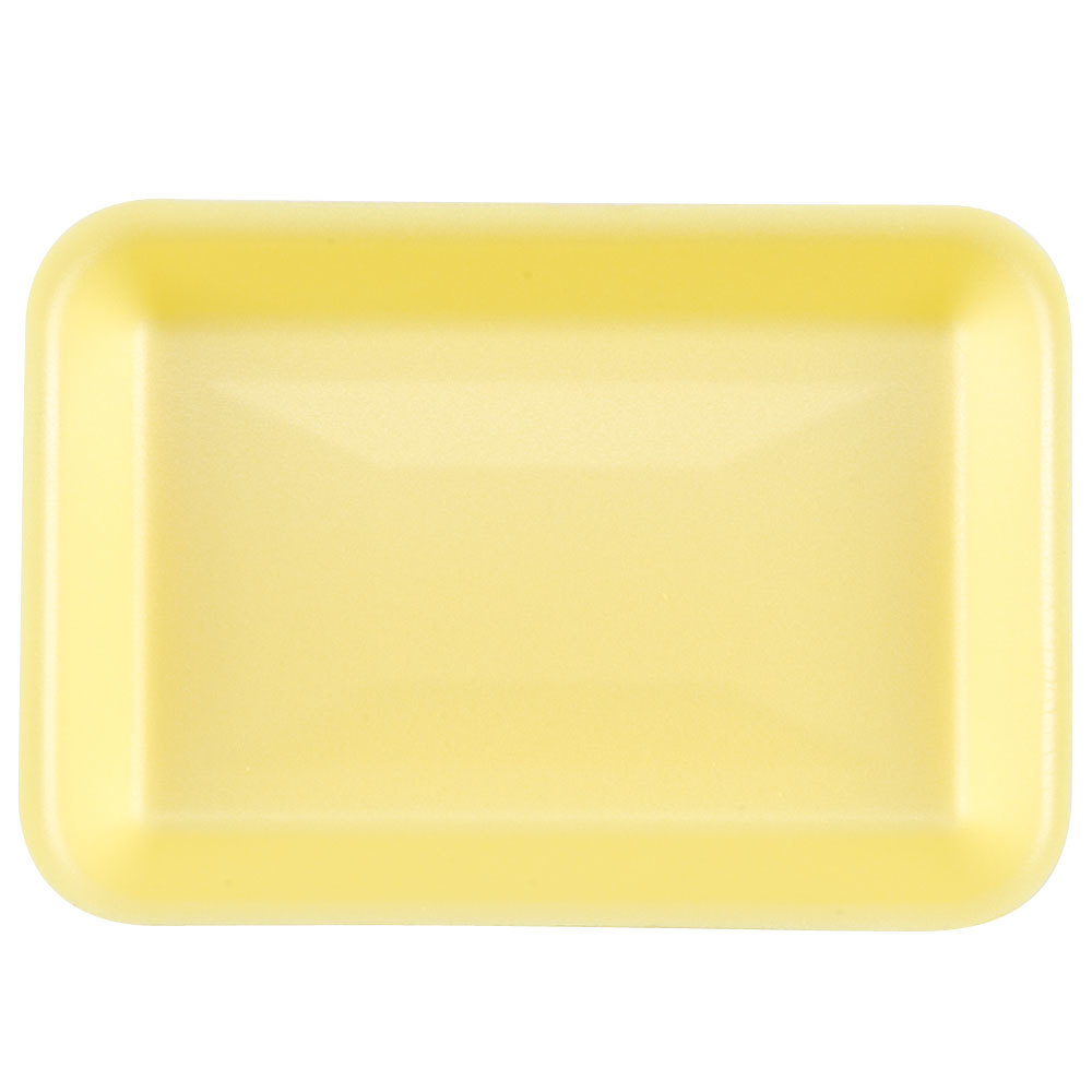 "Genpak 1002 (#2) Yellow 8 1/4"" x 5 3/4"" x 1"" Foam Supermarket Tray - 500 / Case"