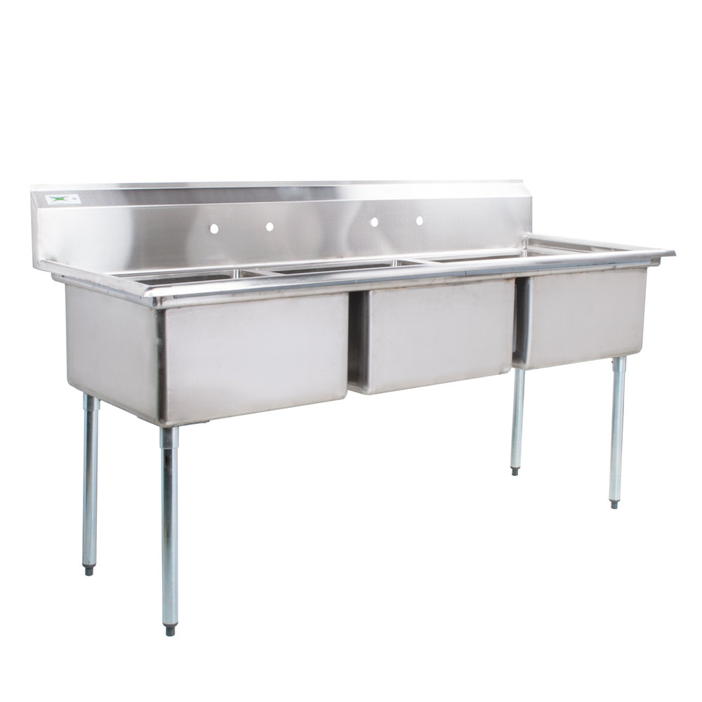 "Stainless Steel Kitchen Sinks With Drainboards Regency 78"" 16Gauge Stainless Steel Three Compartment Commercial"