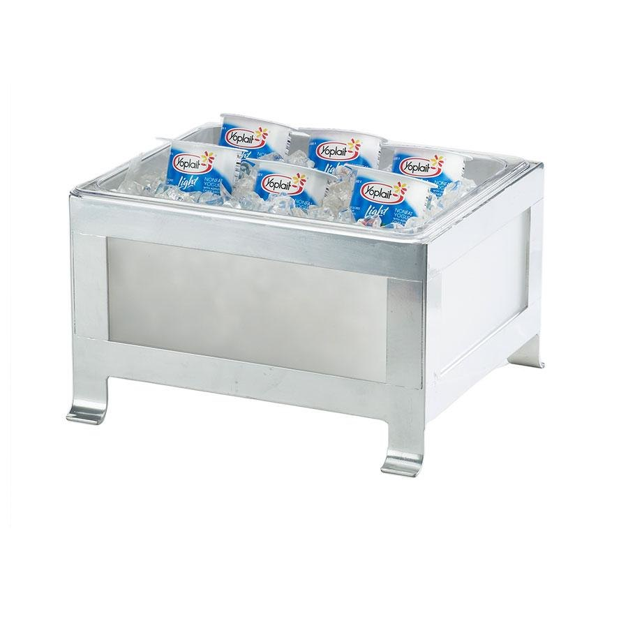 Cal Mil 1582-10-33 Soho Steel Ice Housing with Silver Frame and Frost Insert - 12 3/4 inch x 11 3/4 inch x 7 3/4 inch