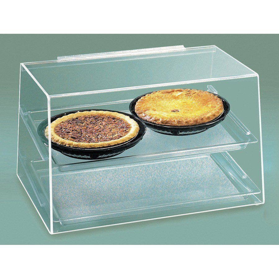 Cal Mil 255 2-Tier Bakery Display Case with Rear Door Slant Front - Acrylic 19 inch x 15 inch x 11 inch