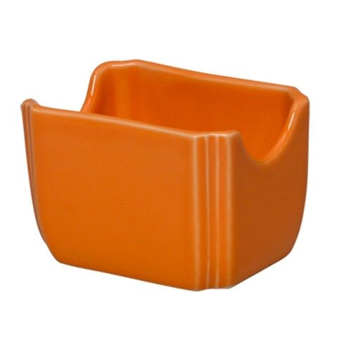 Homer Laughlin 479325 Fiesta Tangerine 3 1/2 inch x 2 3/8 inch Sugar Caddy - 12 / Case