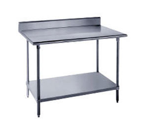 "Advance Tabco 16 Gauge Advance Tabco KLAG-245 24"" x 60"" Stainless Steel Work Table with 5"" Backsplash and Galvanized Undershelf at Sears.com"