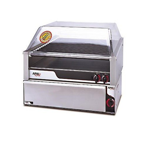 Apw wyott hrs 50sbw 35 hot dog roller grill with slanted - Hot dog roller grill with bun warmer ...
