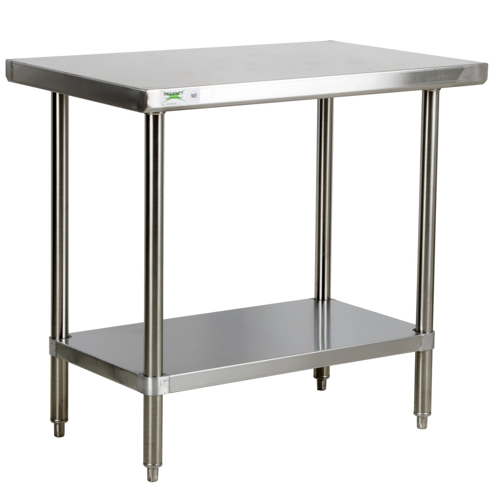 Regency 16 Gauge All Stainless Steel Commercial Work Table - 30 inch x 36 inch with Undershelf