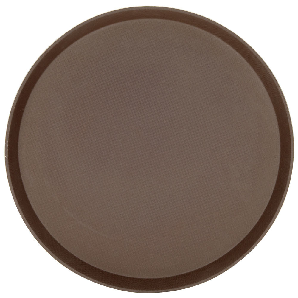 "Cambro 1600TL138 Brown 16"" Round Nonskid Treadlite Fiberglass Serving Tray - 12/Case"