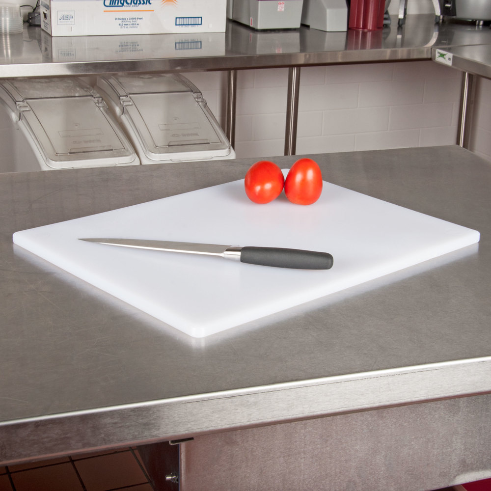 15 x 20 x 1 2 white poly cutting board for White cutting board used for