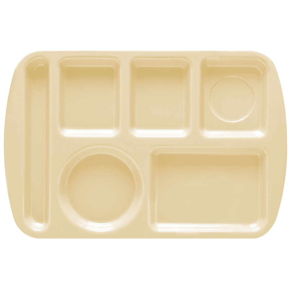 "GET TL-151 Tan Melamine 9 1/2"" x 14 3/4"" Left Hand 6 Compartment Tray - 12/Pack"