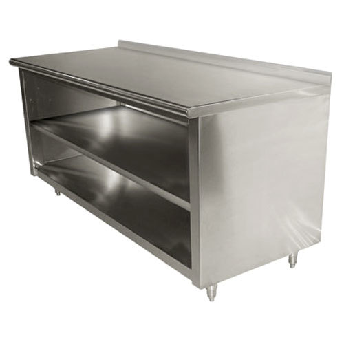 "Advance Tabco EF-SS-244M 24"" x 48"" 14 Gauge Open Front Cabinet Base Work Table with Fixed Mid Shelf and 1 1/2"" Backsplash"