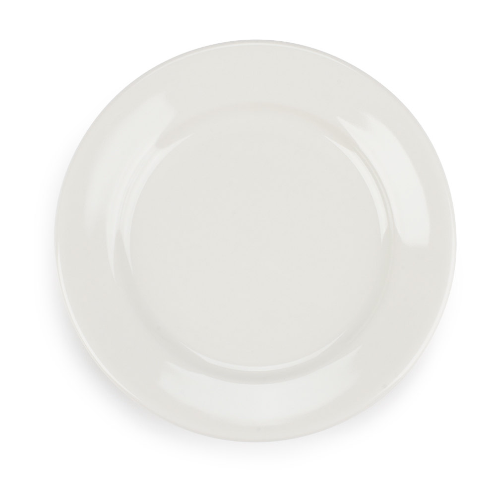 Wide Rim 6 1/4 inch American White (Ivory / Eggshell) Rolled Edge China Plate - 12 / Pack
