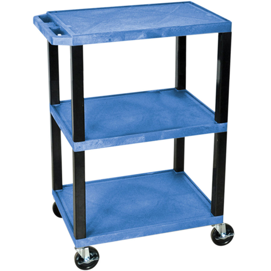 "Luxor / H. Wilson WT34BUS Blue 34"" Three Shelf AV Utility Cart"