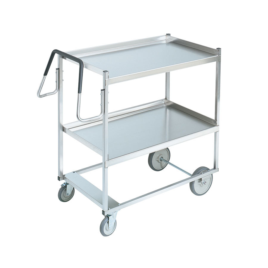 "Vollrath 97202 Heavy-Duty Stainless Steel 2 Shelf Utility Cart - 44"" x 23"" x 44 1/2"""