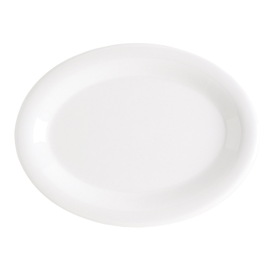 GET OP-135-DW Diamond White 13 1/2 inch x 10 1/4 inch Narrow Rim Oval Platter 12/Case