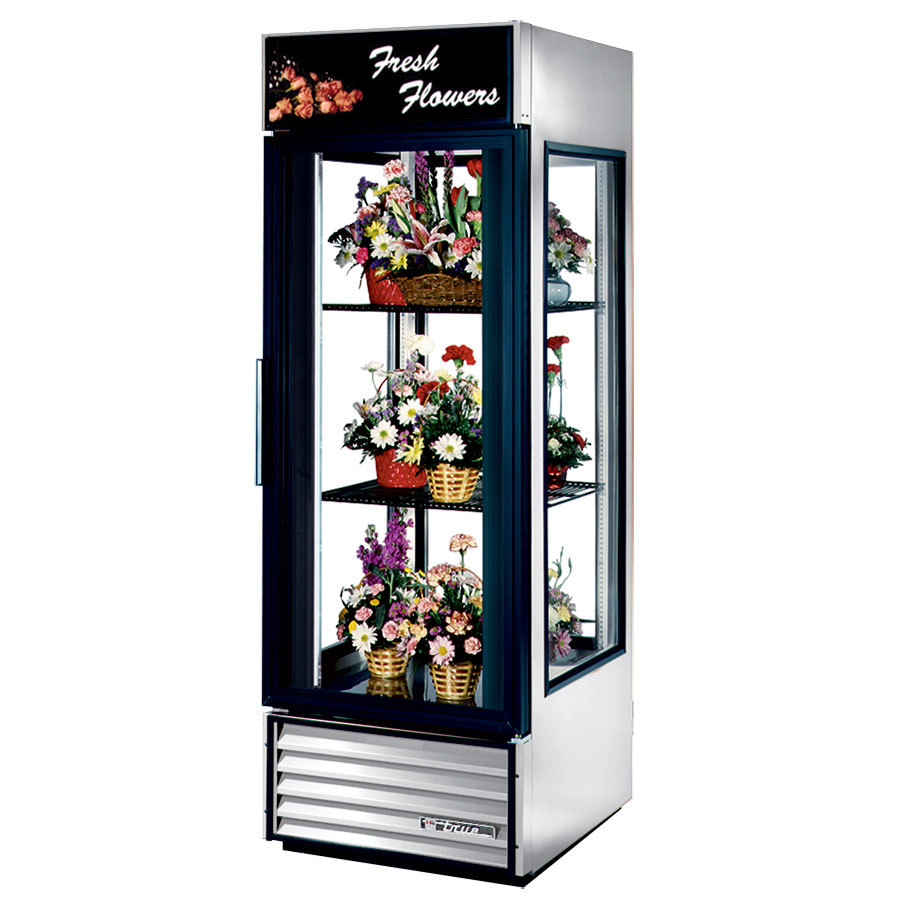 True G4SM-23FC White Four Sided Glass Door Floral Case with Front Sign - 23 Cu. Ft.