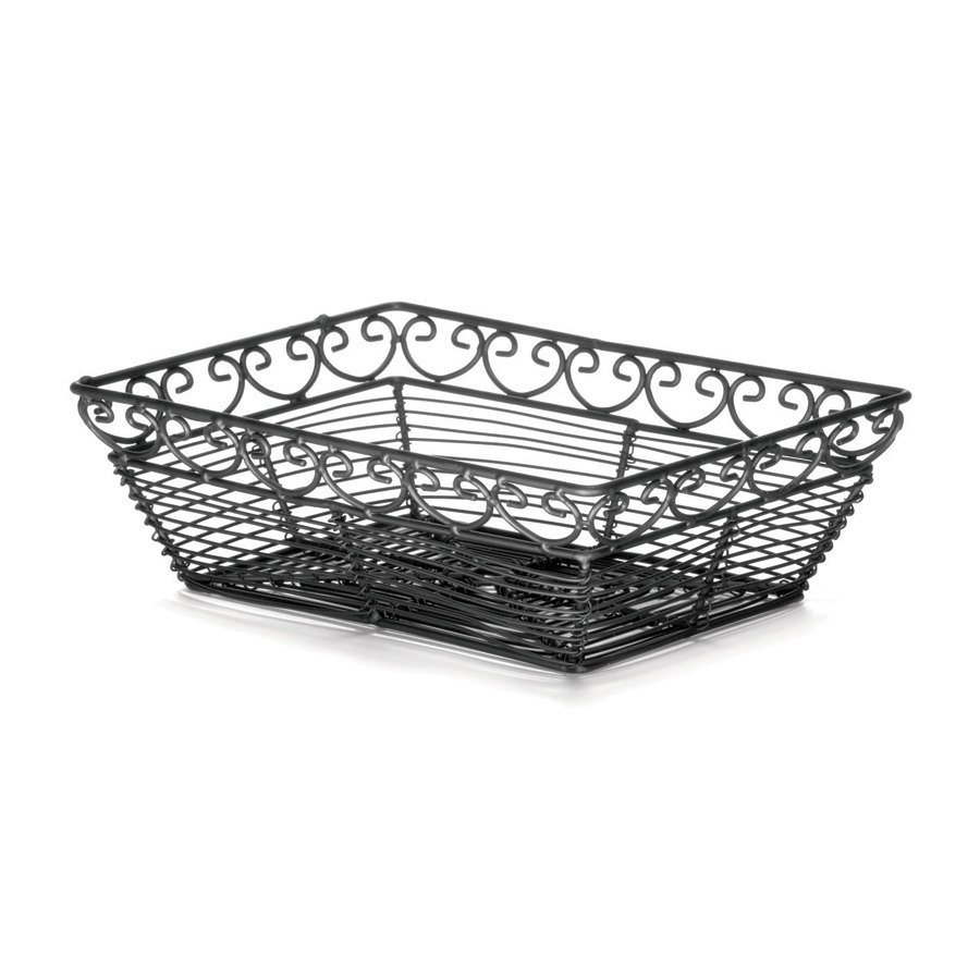 "Tablecraft BK27209 Mediterranean Rectangular Black Metal Basket - 9"" x 6"" x 3"""
