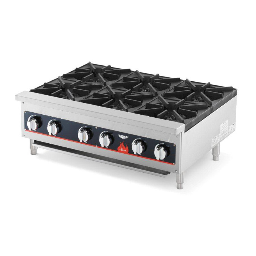 Countertop Stove Burners : Vollrath 40738 6 Burner Counter Top Hot Plate / Range Natural / LP Gas