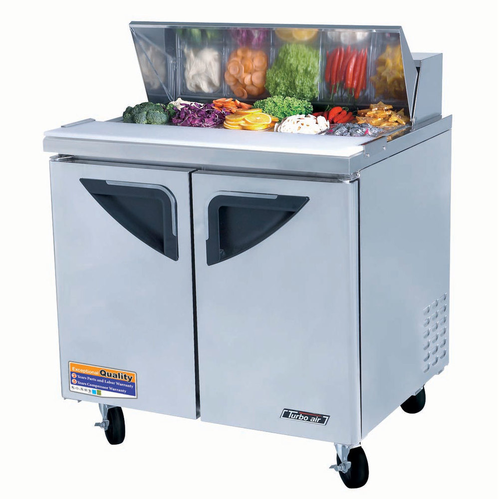 "Turbo Air TST-36SD 36"" Super Deluxe Refrigerated Sandwich / Salad Prep Table"