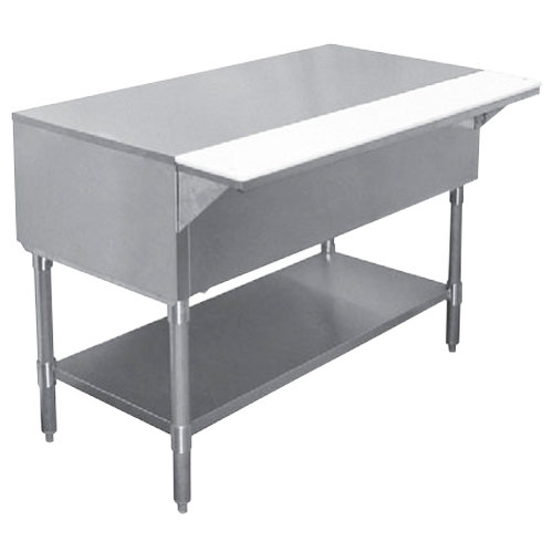 "APW WT-4 22 1/2"" x 63 1/2"" Stainless Steel Work-Top Counter with Cutting Board and Galvanized Undershelf"