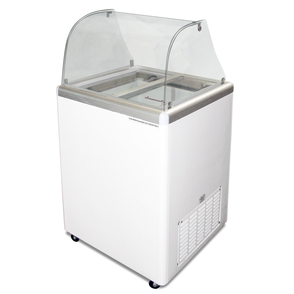 Excellence EDC-4C Ice Cream Freezer Dipping Cabinet with Curved Glass - 5 Cu. Ft.