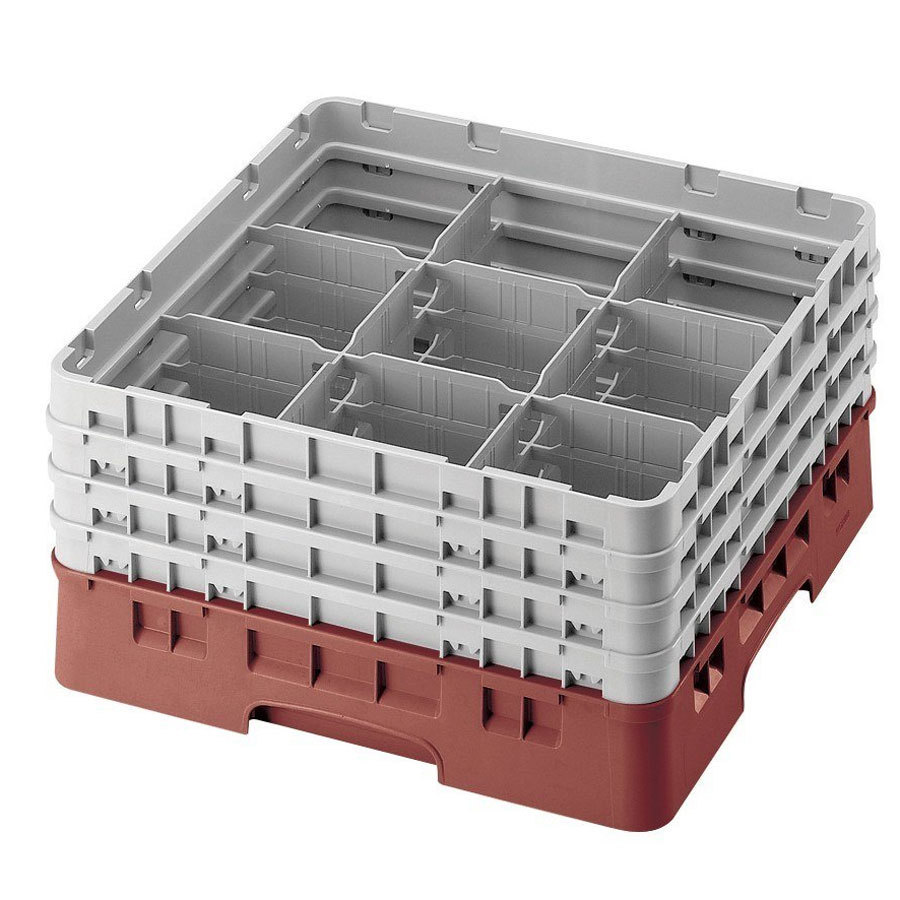 "Cambro 9S318416 Cranberry Camrack 9 Compartment 3 5/8"" Glass Rack"