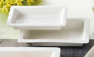 "CAC TSP-21 White China Rectangular Tray 12"" x 7"" - 12/Case"