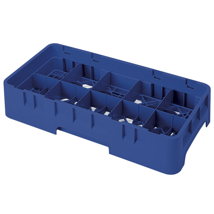 "Cambro 10HS638186 Navy Blue Camrack 10 Compartment 6 7/8"" Half Size Glass Rack"