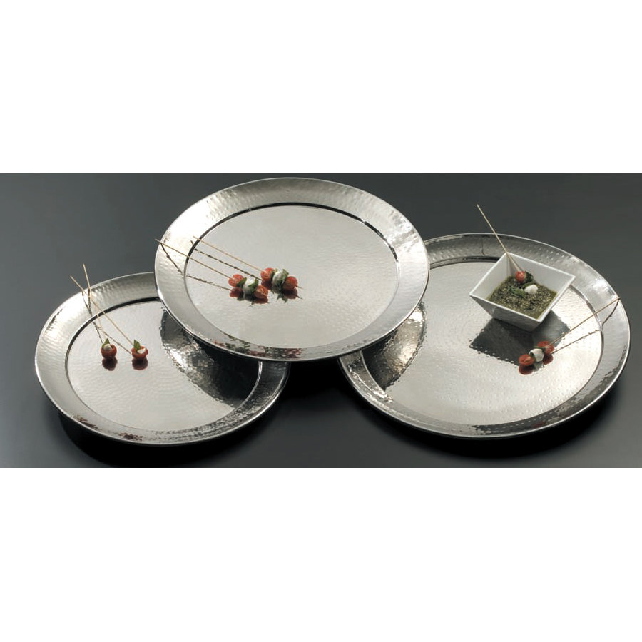 """Hammered Metal Coffee Table ... Metalcraft HMRST2201 22"""" Round Hammered Stainless Steel Serving Tray"""