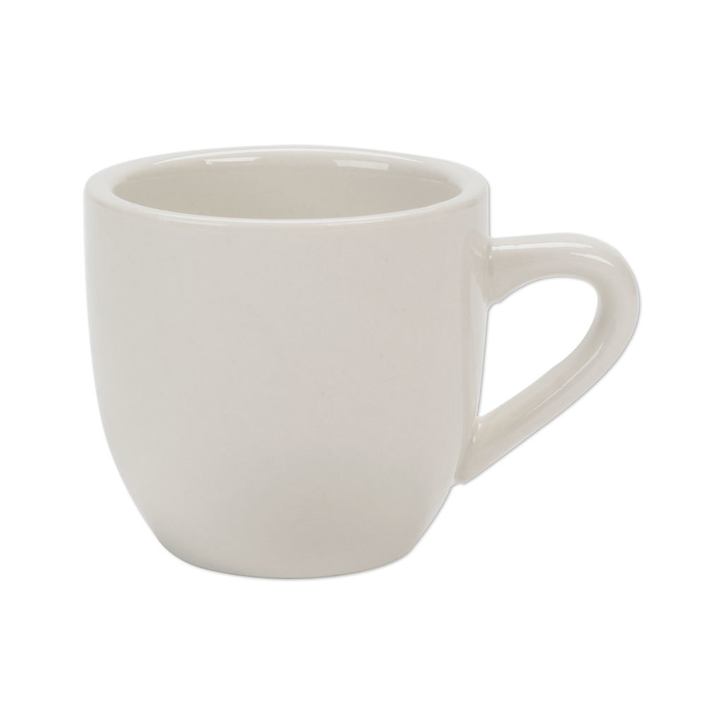 American White (Ivory / Eggshell) Wide Rim 3.5 oz. Rolled Edge China Demitasse Cup - 36 / Case