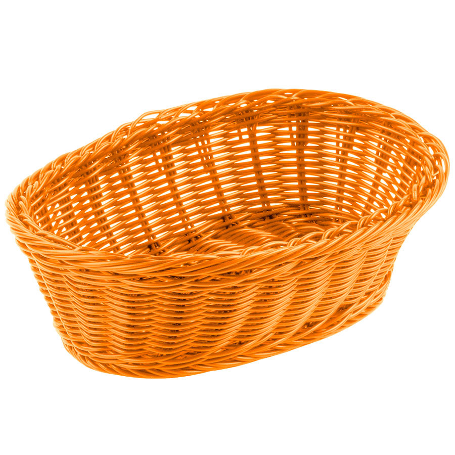 "Tablecraft HM1174OR Orange Oval Rattan Basket 9 1/4"" x 6 1/4"" x 3 1/4"" 6/Pack"