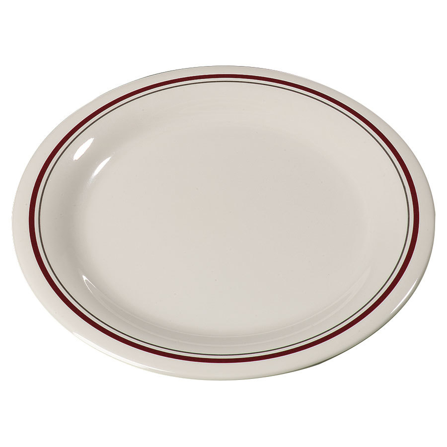 "Carlisle 43009903 Mosaic Durus 6 1/2"" Morocco On Bone Narrow Rim Melamine Pie Plate - 48/Case"