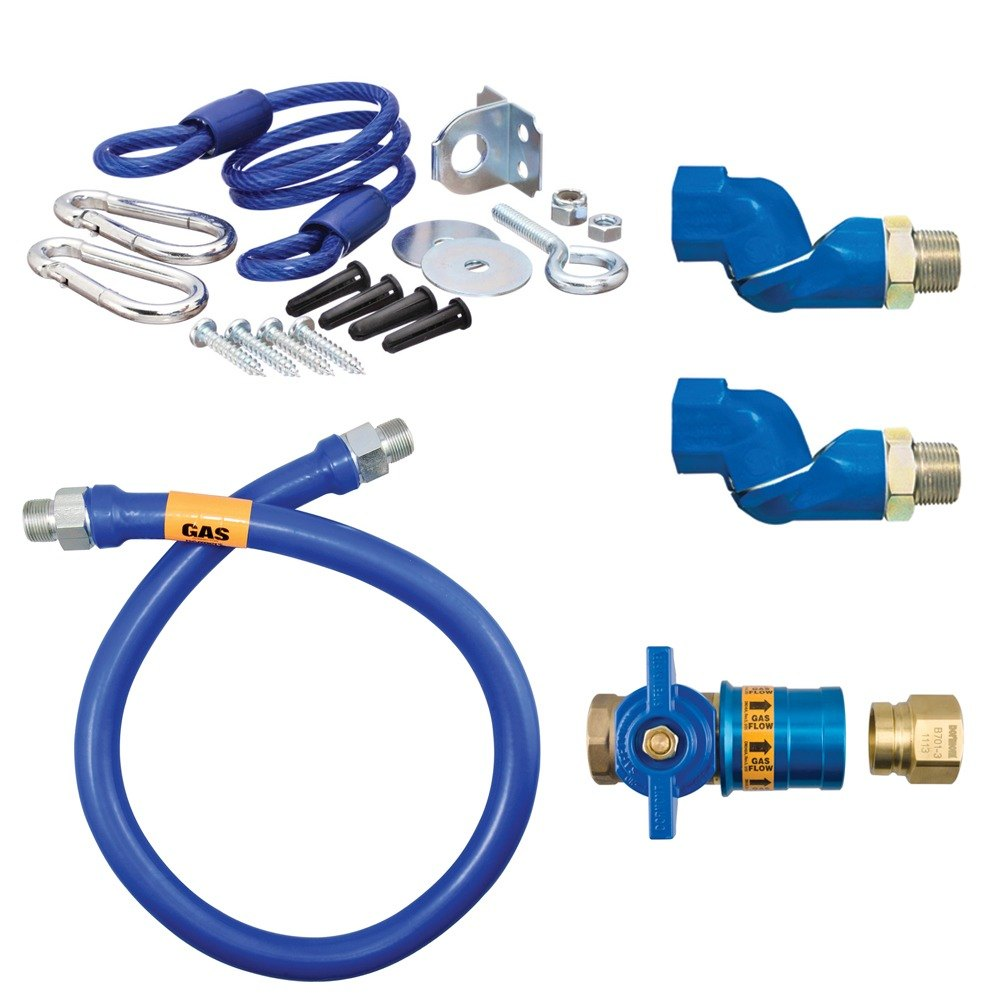 "48"" Dormont 16100KITCF2S Safety Quik Gas Appliance Connector Kit with SwivelMax Deluxe - 1"" Diameter"