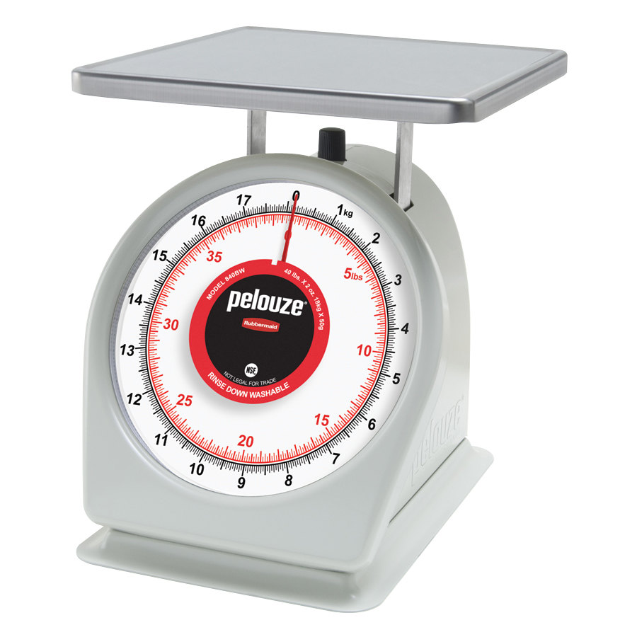 "Rubbermaid Pelouze 840BW 40 lb. / 18 kg Portion Scale - 9"" x 9"" Platform (FG840BW)"