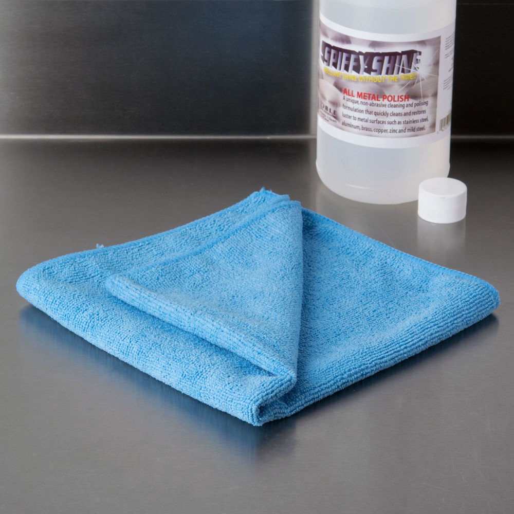 "16"" x 16"" Blue Microfiber Cleaning Cloth - 12/Pack"