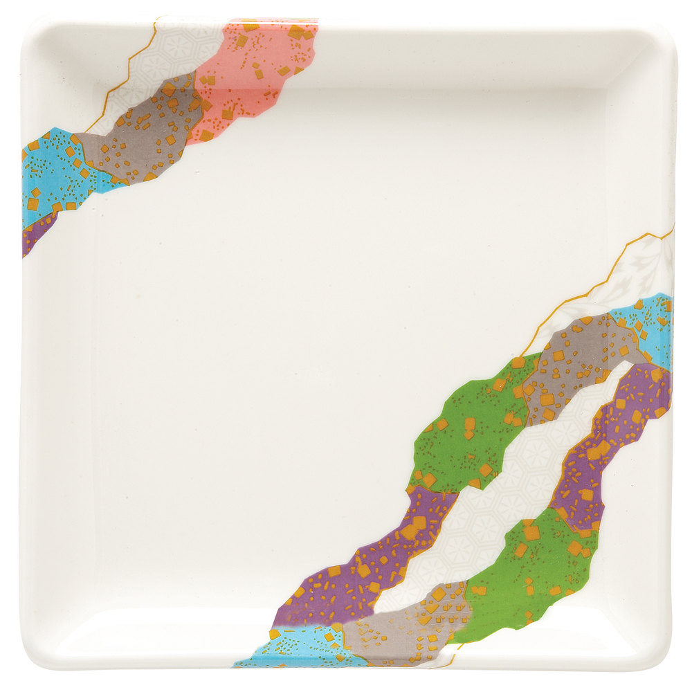 "GET 252-18-CO 7"" x 7"" Contemporary Melamine Square Plate - 12 / Pack"