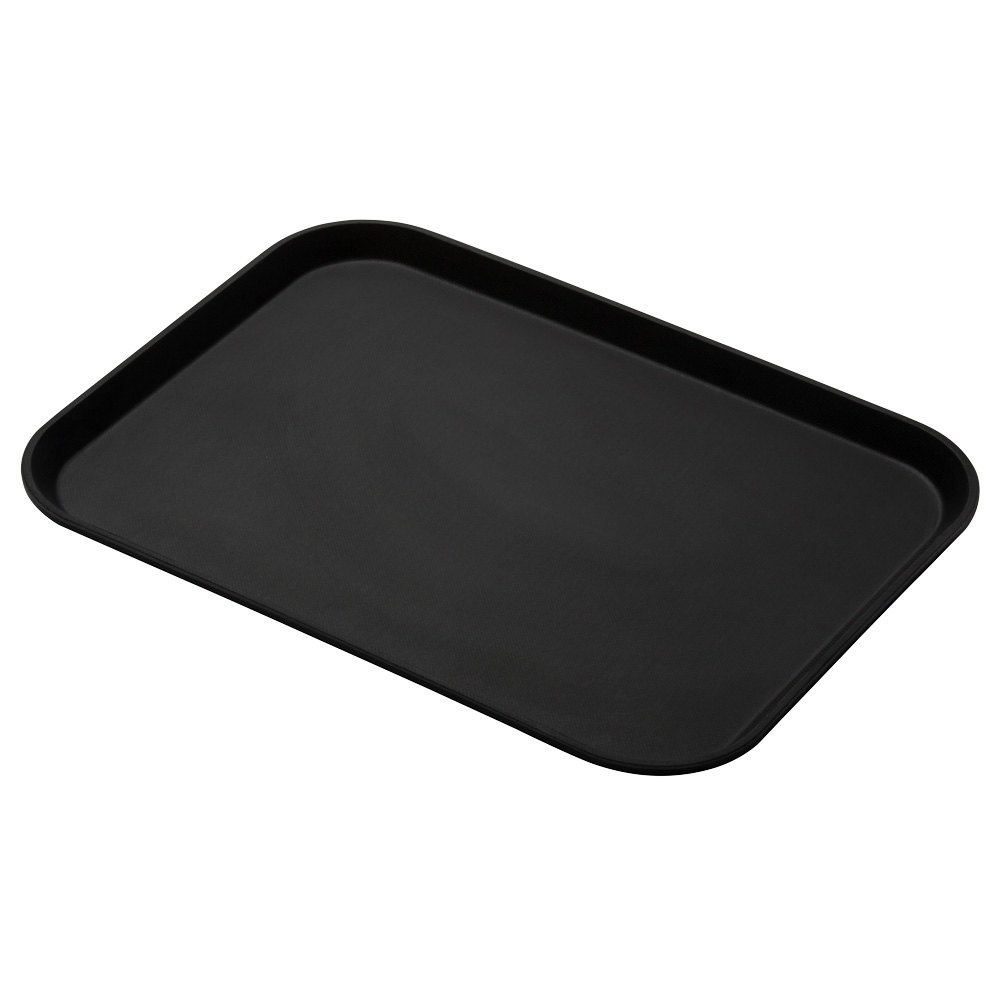 "Cambro 1216CT110 Black Satin Camtread Non-Skid Serving Tray 12"" x 16"" - 12 / Case"