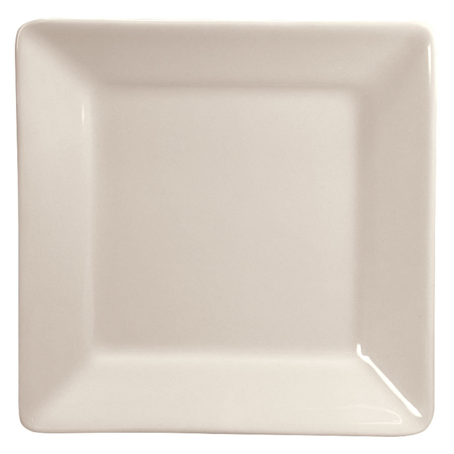 "Homer Laughlin 8200 Times Square 4 1/2"" Ivory (American White) Square China Plate - 36/Case"