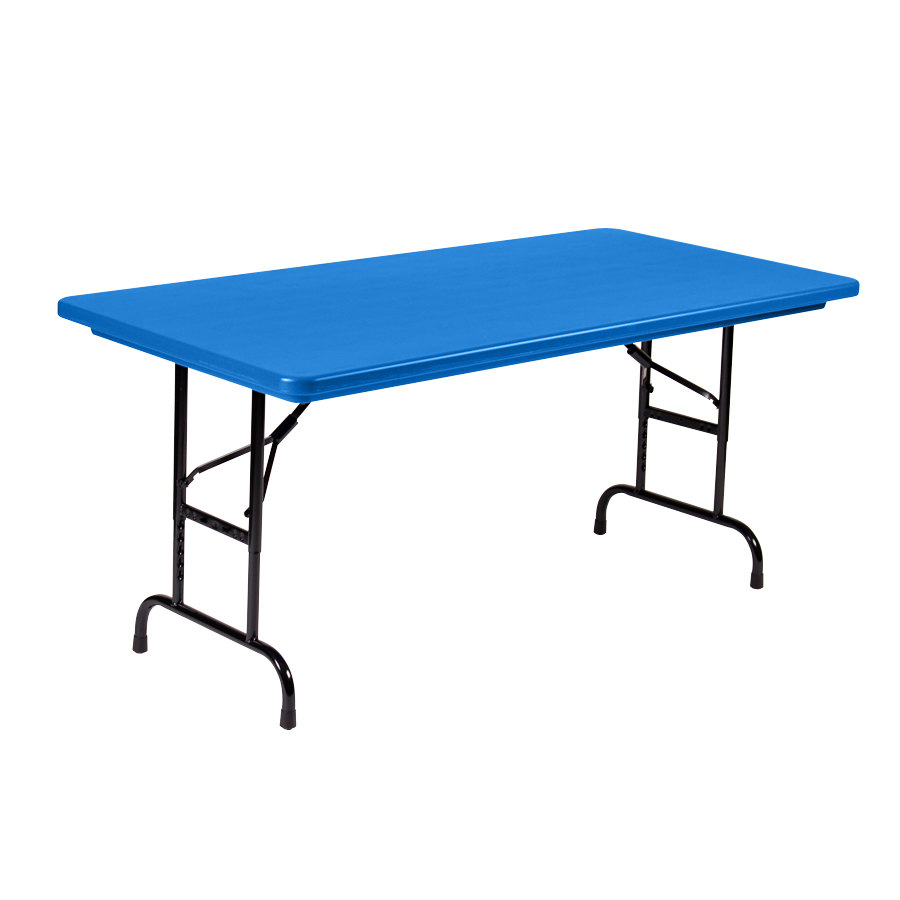 "Correll Adjustable Height Folding Table 30"" x 60"" Plastic Blue"
