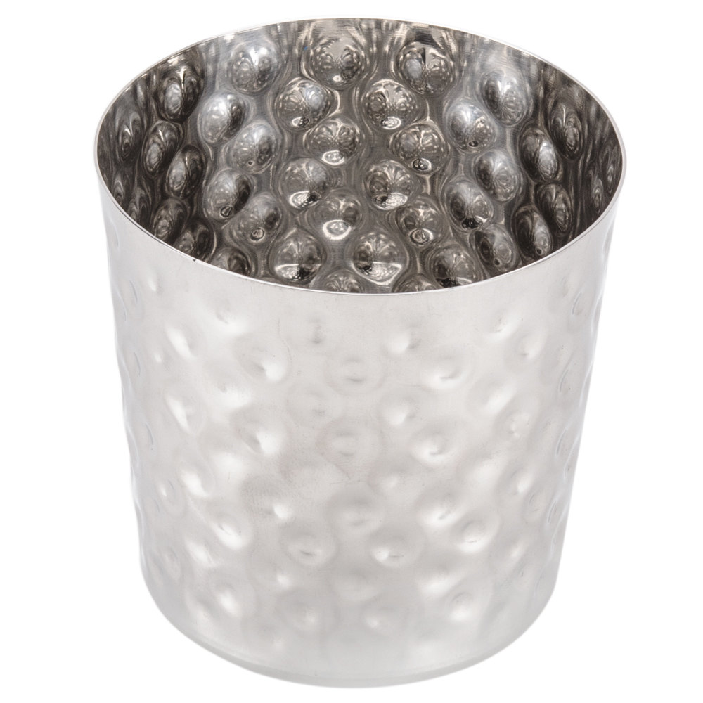 Metalcraft ffhm37 3 3 8 quot hammered stainless steel french fry cup