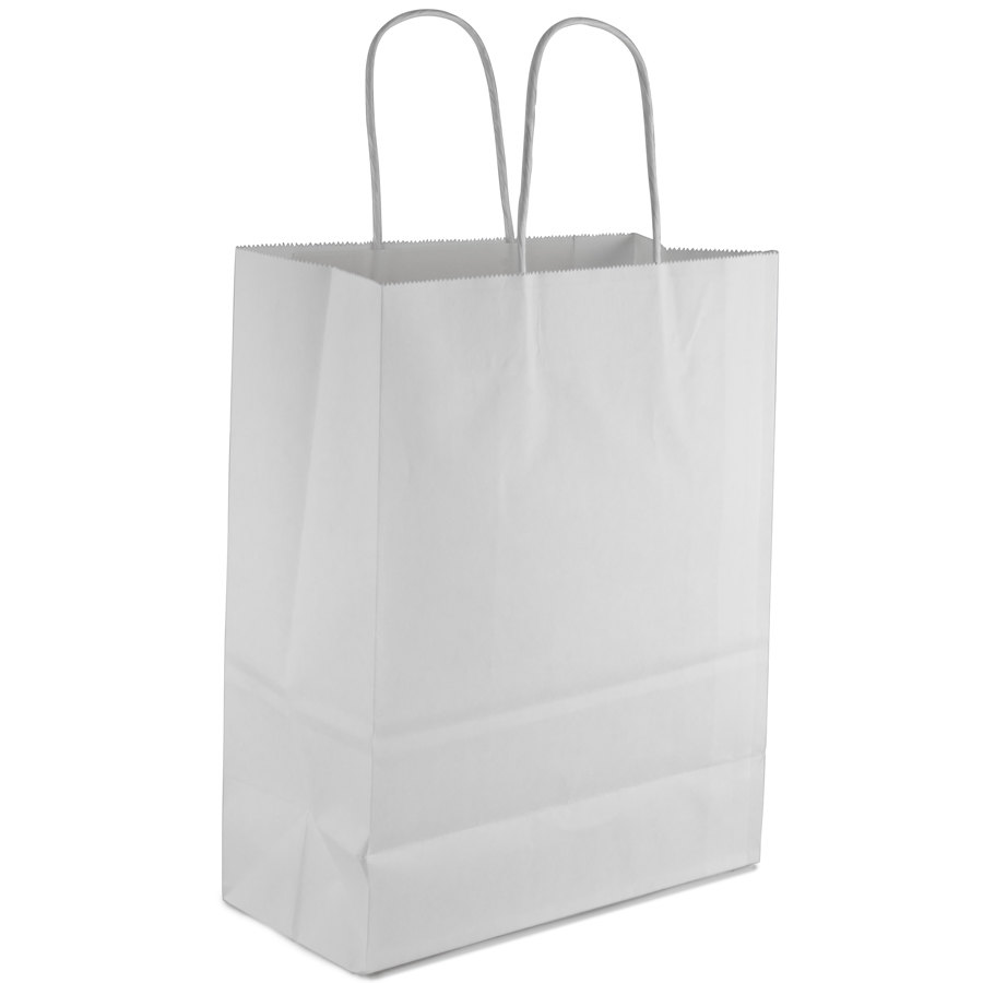 """Missy White Paper Shopping Bag with Handles 10"""" x 5"""" x 13 ..."""