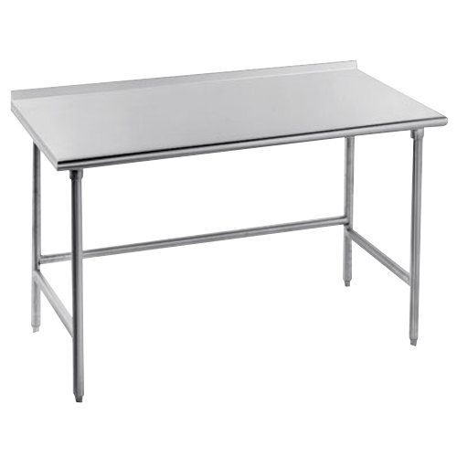 "Advance Tabco TFMS-242 24"" x 24"" 16 Gauge Open Base Stainless Steel Commercial Work Table with 1 1/2"" Backsplash"
